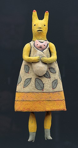 ceramic figure wall piece bunny rabbit by Sara Swink