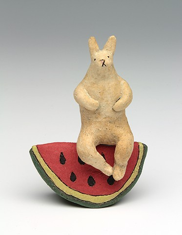 ceramic figure rabbit animal watermelon by Sara Swink