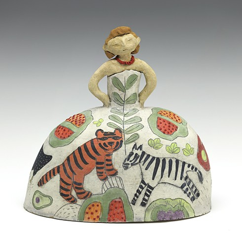 Ceramic figure dress flowers princess zebra tiger by Sara Swink