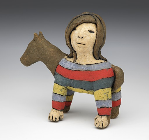 horse, sweater, woman, clay, sculpture, maquette