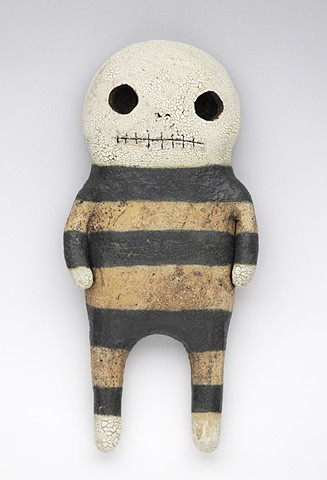 clay ceramic pottery figure skeleton skull stripes by sara swink