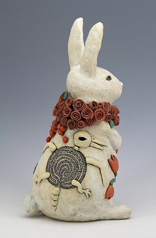 sara Swink rabbit labyrinth c-diff bird skeleton roses tulips pottery ceramics