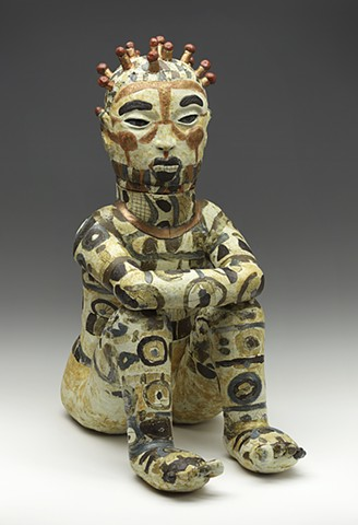 clay ceramic pottery figure nerikomi warrior by sara swink