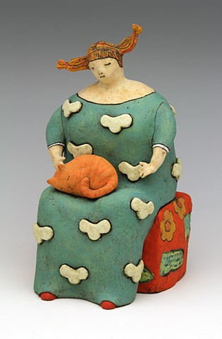 ceramic figure cat pottery by Sara Swink