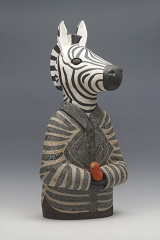 sara Swink zebra black and white red bird dream pottery ceramics