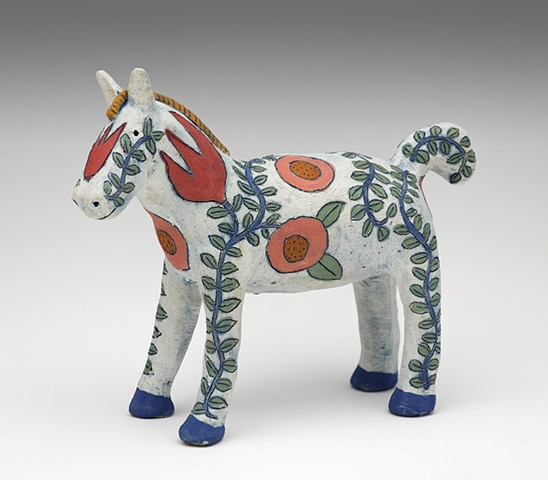clay ceramic sculpture by sara swink horse pony flowers sgraffito folk art
