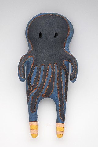 clay ceramic pottery figure octopus by sara swink