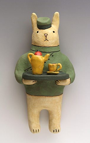 ceramic figure tea rabbit Wally by Sara Swink