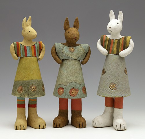clay ceramic pottery figure rabbit hare bunny stripe by sara swink