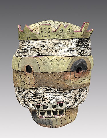 ceramic figure wall piece mask by Sara Swink