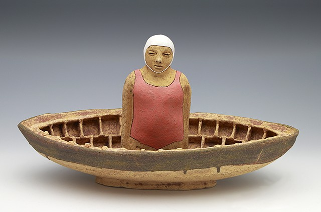 clay ceramic sculpture boat bather swimmer by sara swink