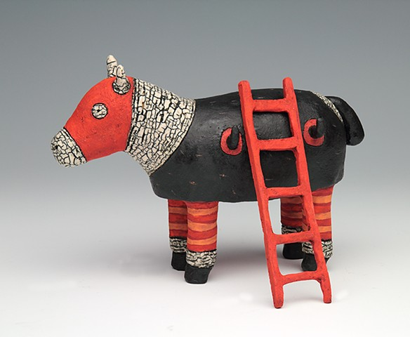 ceramic figure with horse by Sara Swink