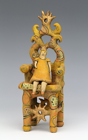 clay ceramic sculpture chair by sara swink