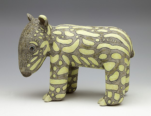 clay ceramic sculpture tapir spots by sara swink