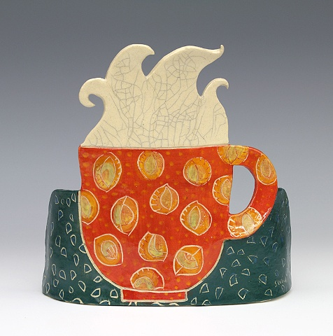 clay ceramic standing slab by sara swink coffee cup