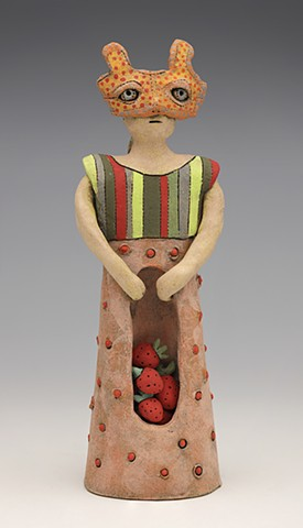 clay ceramic pottery figure rabbit hare bunny strawberry stripe mask by sara swink