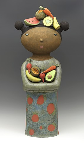clay ceramic pottery figure fruit vegetable strawberry by sara swink