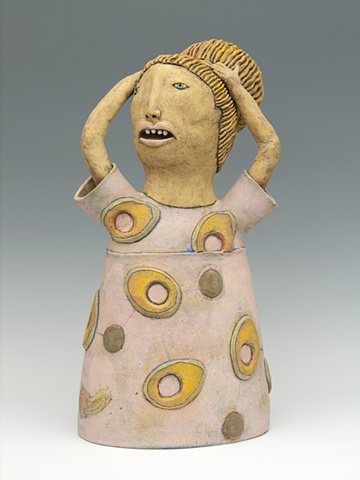clay ceramic sculpture girl with mangoes by sara swink