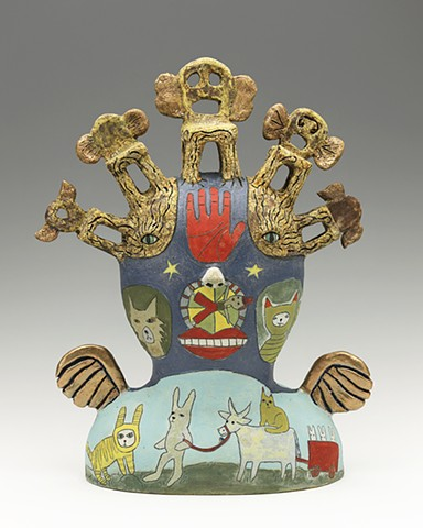 ceramic figure palmistry chair wings, wheel of fortune ox by Sara Swink