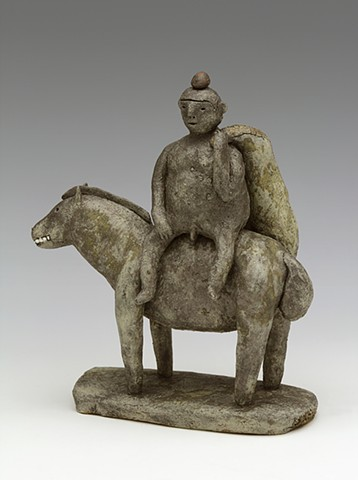 clay ceramic pottery horse buddha  by sara swink