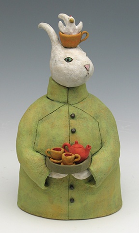 clay ceramic sculpture animal by sara swink rabbit tea