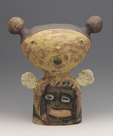 clay ceramic pottery figure angel mouth basquiat  by sara swink