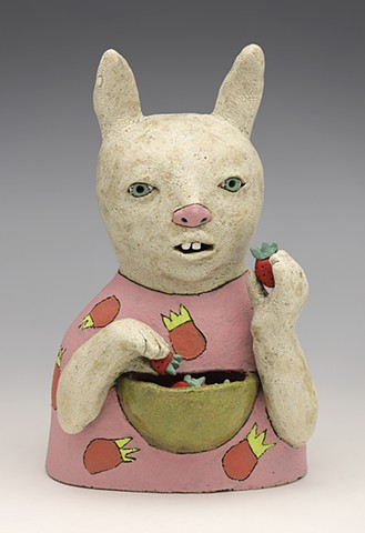 clay ceramic pottery figure rabbit hare bunny strawberry bowl by sara swink