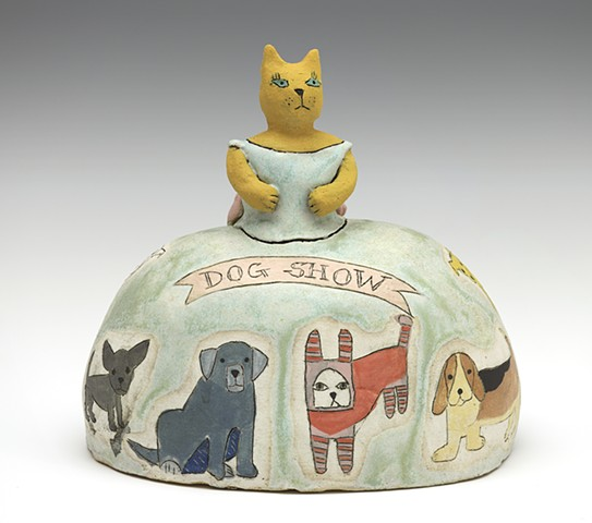 Ceramic figure cat dog rabbit dog show dress by Sara Swink