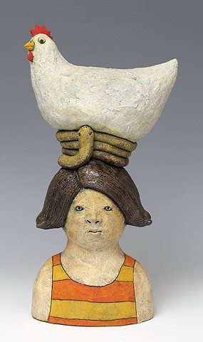 ceramic figure with chicken by Sara Swink