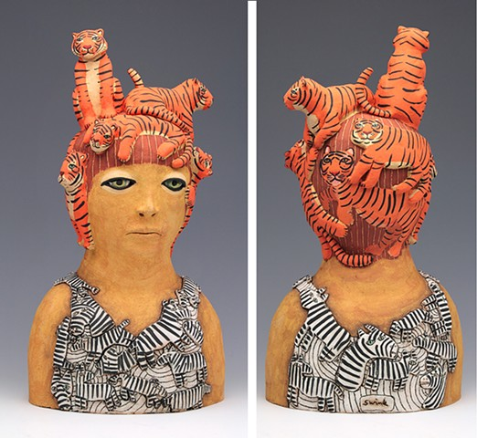 ceramic sculpture tiger zebra sara swink human figure