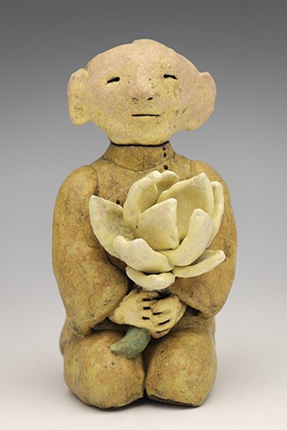 clay ceramic pottery figure monk lotus flower offering  by sara swink