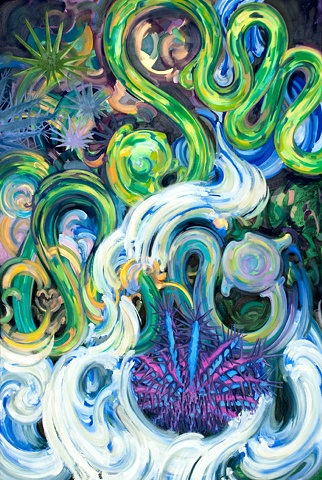 oil painting colorful biomorphic forms