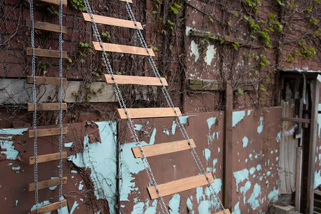heather brammeier installation art ladder reclaimed oak flooring chain