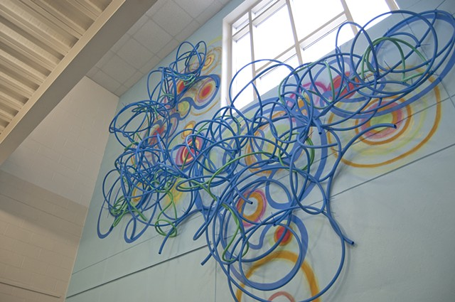 mural painting PEX tubing installation dimensional foliation Heather Brammeier Garfield Park Arts Center Indianapolis