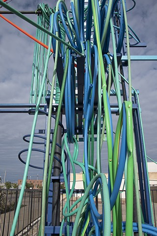 heather brammeier installation artwork colorful tubing garden hose reclaimed materials