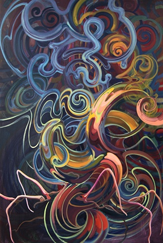 oil painting biomorphic forms colorful