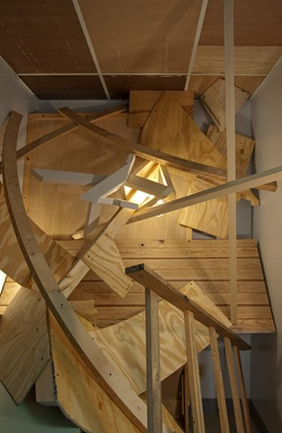 Heather Brammeier salvaged wood sculpture installation crooked room in a crooked house