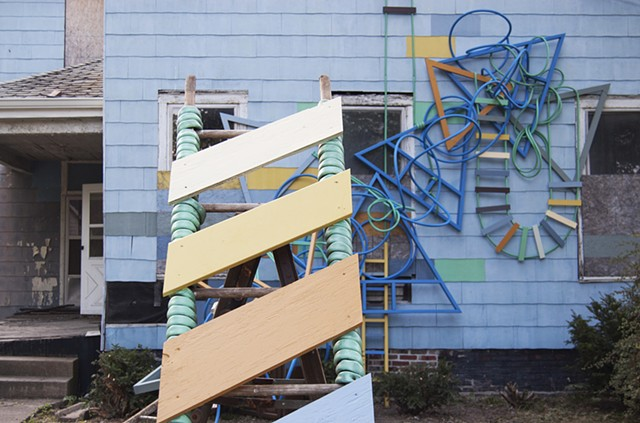 heather brammeier artwork installation sculpture colorful progression tubing reclaimed ladders