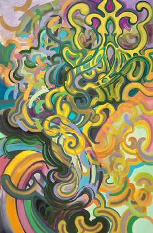 abstract biomorphic oil painting colorful