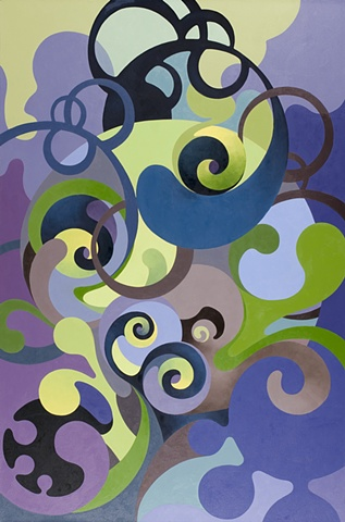 oil painting colorful biomorphic forms abstract architectural