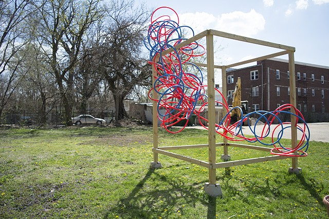 heather brammeier public artwork community garden pex tubing installation