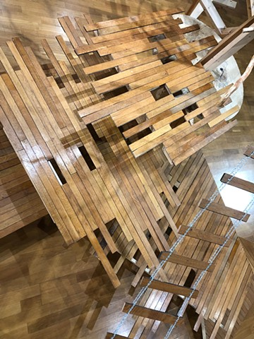 reclaimed wood sculptural installation by Heather Brammeier