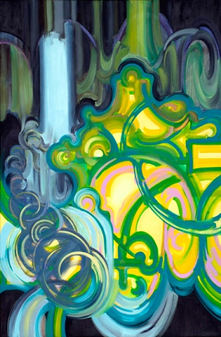 oil painting colorful biomorphic forms abstract