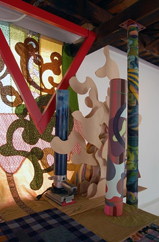 Heather Brammeier fabric construction and oil painting installation assemblage
