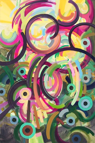 biomorphic geometric colorful abstract landscape lines painting