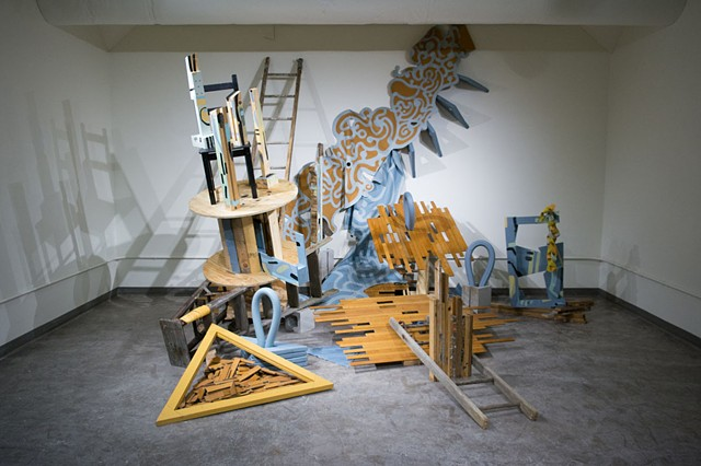 Heather Brammeier Jessica Bingham installation collaboration reclaimed materials found objects artwork