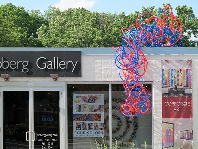 Pex plumbing pipe red blue line sculpture installation biomorphic Heather Brammeier Moberg artist