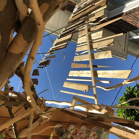 heather brammeier artwork treehouse installation found materials