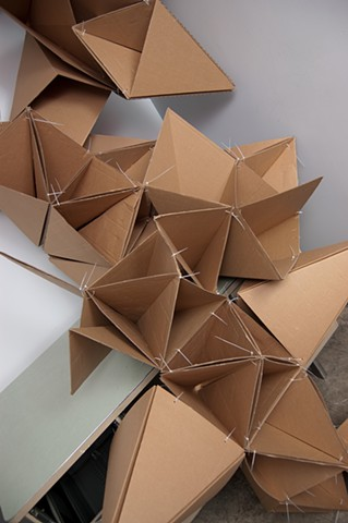 Heather Brammeier installation temporary art cardboard zip ties
