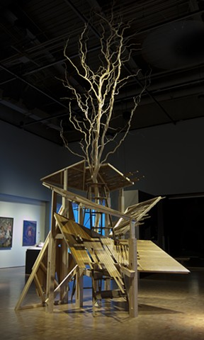 heather brammeier artwork installation sculpture tree reclaimed materials